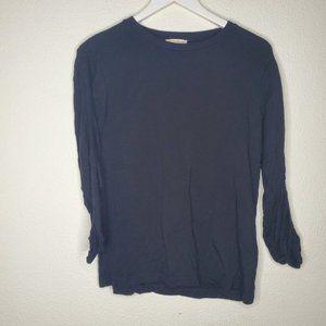 Jane & Dalancey Black Rouched 3/4 Sleeve Tee Shirt